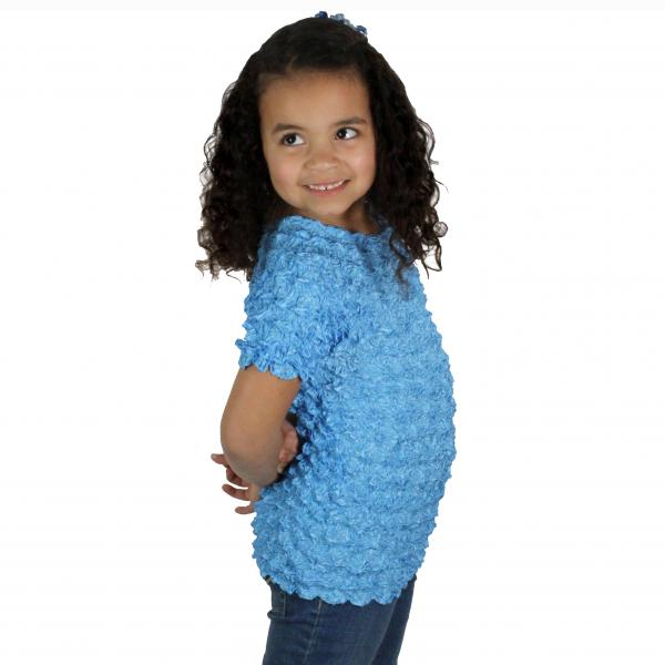 Wholesale Silky Touch Popcorn - Kids Size  Short Sleeve Azure Silky Touch Popcorn Top - Kids Size - Toddler - Tween