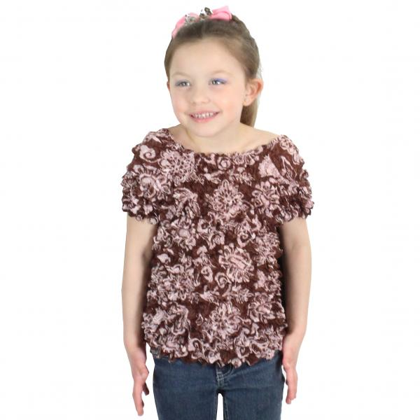 wholesale Silky Touch Popcorn - Kids Size  Short Sleeve Floral Brown Silky Touch Popcorn Top - Kids Size - Toddler - Tween