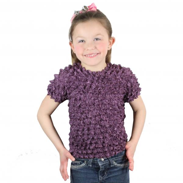 wholesale Silky Touch Popcorn - Kids Size  Short Sleeve Dusty Purple Silky Touch Popcorn Top - Kids Size - Toddler - Tween