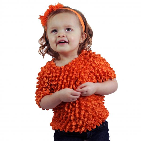 Wholesale Silky Touch Popcorn - Kids Size  Short Sleeve Orange Silky Touch Popcorn Top - Kids Size - Toddler - Tween