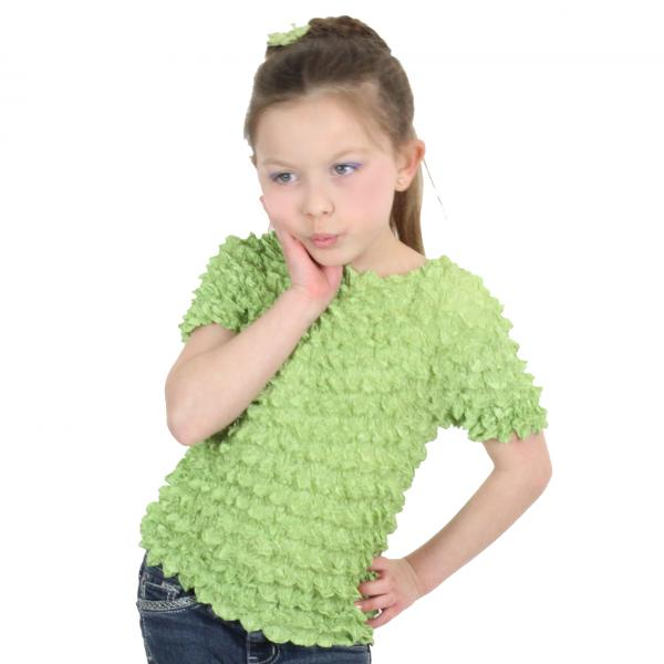 wholesale Silky Touch Popcorn - Kids Size  Short Sleeve Light Green Silky Touch Popcorn Top - Kids Size - Toddler - Tween