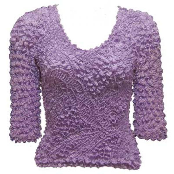 Wholesale Pinpoint Popcorn - Three Quarter Sleeve Lilac - One Size (S-XL)