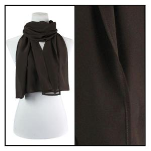 Georgette Scarves  Solid Dark Brown -