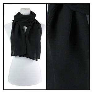 Georgette Scarves  Solid Black -
