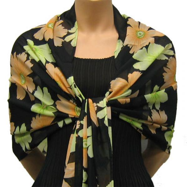 wholesale Georgette Wraps*  Hibiscus Peach-Green -
