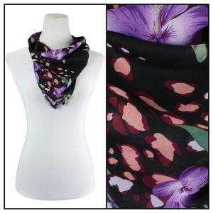 Georgette Neckerchief Squares*  Black-Purple Floral -