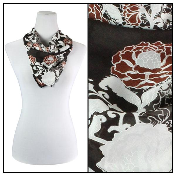 Georgette Neckerchief Squares*  Chocolate-Ivory Floral -