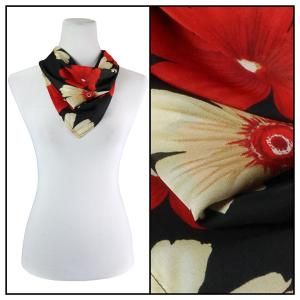 Georgette Neckerchief Squares*  Hibiscus Red-Tan -