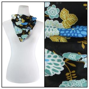 Georgette Neckerchief Squares*  Mums Blue-Black  -