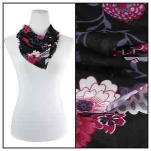 Georgette Neckerchief Squares*  Mums Pink-Black  -