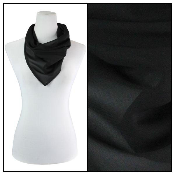 Georgette Neckerchief Squares*  Solid Black -