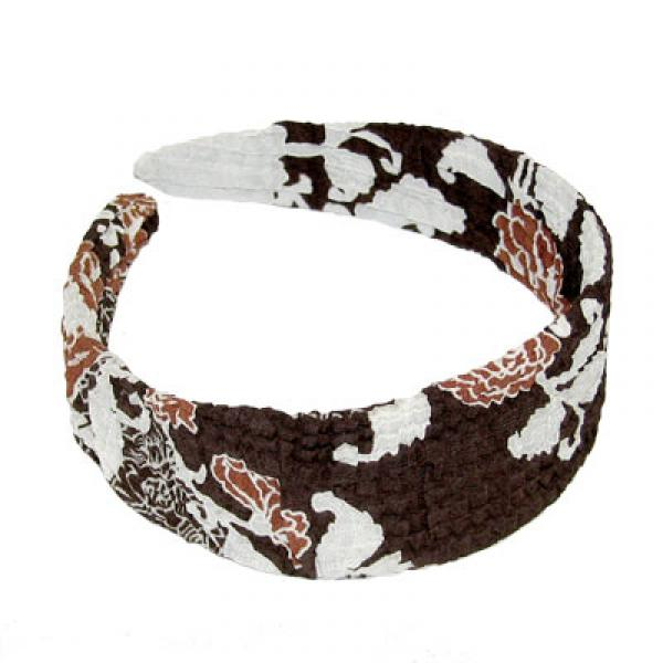 Georgette Headbands*    Chocolate-Ivory Floral -