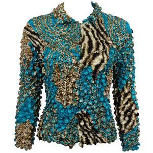 wholesale Coin Style - Cardigan Zebra Aqua-Brown - One Size (S-XL)