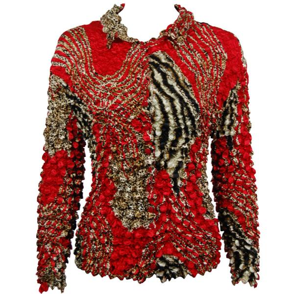 Wholesale Coin Style - Cardigan Zebra Red-Brown - One Size (S-XL)