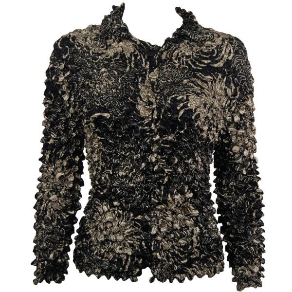 Wholesale Coin Style - Cardigan Abstract Flowers Black-Tan - One Size (S-XL)