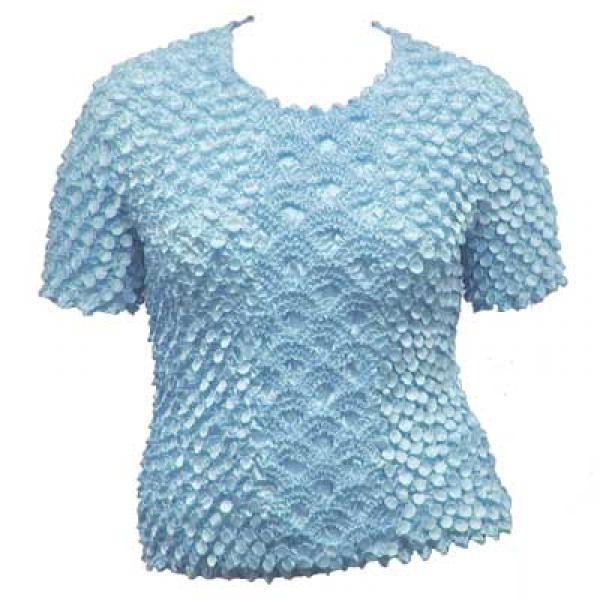 Wholesale Queen - Coin Fishscale - Short Sleeve Sky Blue - Queen Size Fits (XL-3X)