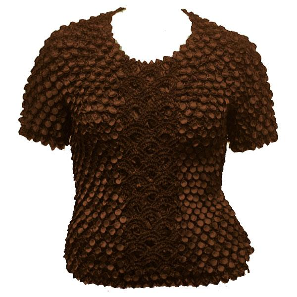 Wholesale Queen - Coin Fishscale - Short Sleeve Brown - Queen Size Fits (XL-3X)