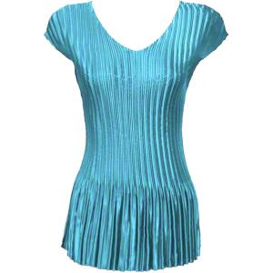 Wholesale  Solid Aqua Satin Mini Pleat - Cap Sleeve V-Neck - One Size (S-XL)