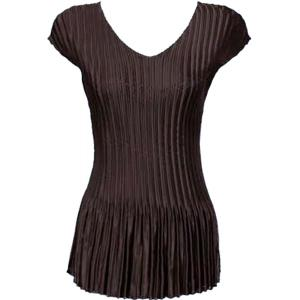 Wholesale  Solid Brown Satin Mini Pleat - Cap Sleeve V-Neck - One Size (S-XL)