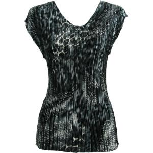 Wholesale  Reptile Black-Grey Satin Mini Pleat - Cap Sleeve V-Neck - One Size (S-XL)