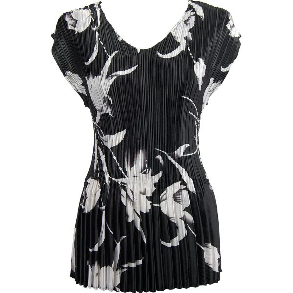 Wholesale Skirts - Satin Mini Pleat Tiered* White Tulips on Black Satin Mini Pleat - Cap Sleeve V-Neck - One Size (S-XL)