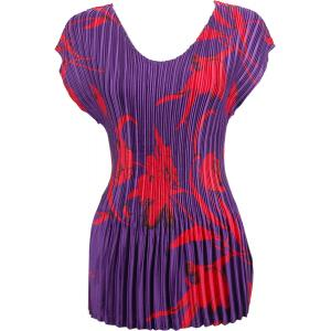 Wholesale  Red Tulips on Purple Satin Mini Pleat - Cap Sleeve V-Neck - One Size (S-XL)