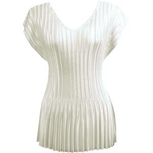 Wholesale  Solid Off White Satin Mini Pleat - Cap Sleeve V-Neck - One Size (S-XL)