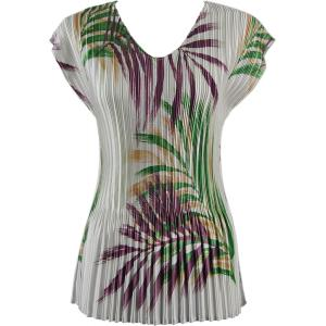 Wholesale  Palm Leaf Green-Purple Satin Mini Pleat - Cap Sleeve V-Neck - One Size (S-XL)