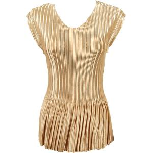 Wholesale  Solid Light Golden Beige Satin Mini Pleat - Cap Sleeve V-Neck - One Size (S-XL)