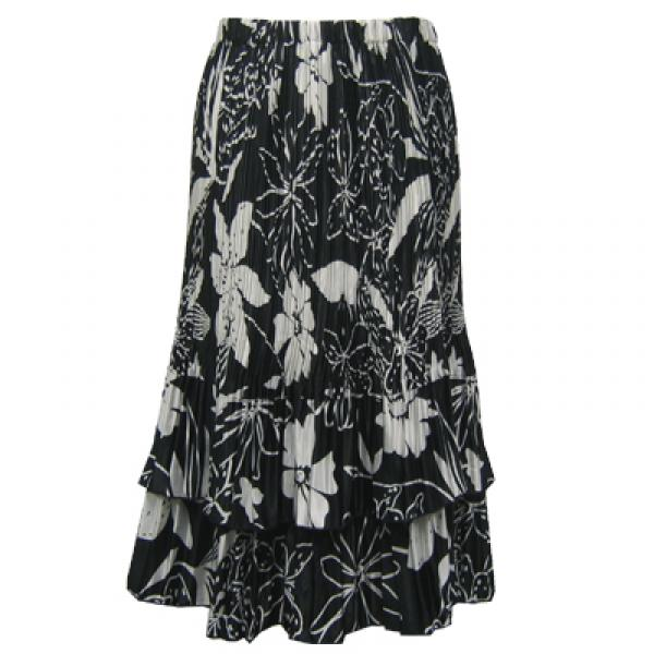Wholesale Skirts - Satin Mini Pleat Tiered*  Floral - White on Black Satin Mini Pleat Tiered Skirt - One Size (S-XL)