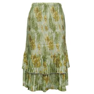 Wholesale Skirts - Satin Mini Pleat Tiered*  Gold-Sage Floral Satin Mini Pleat Tiered Skirt - One Size (S-XL)
