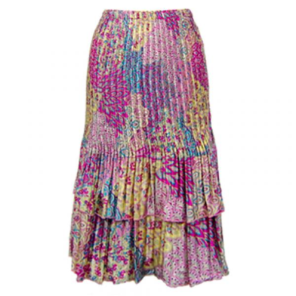 Wholesale Skirts - Satin Mini Pleat Tiered*  Paisley Magenta-Teal Satin Mini Pleat Tiered Skirt - One Size (S-XL)