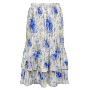 Wholesale Skirts - Satin Mini Pleat Tiered*  Roses - Blue on White - One Size (S-XL)