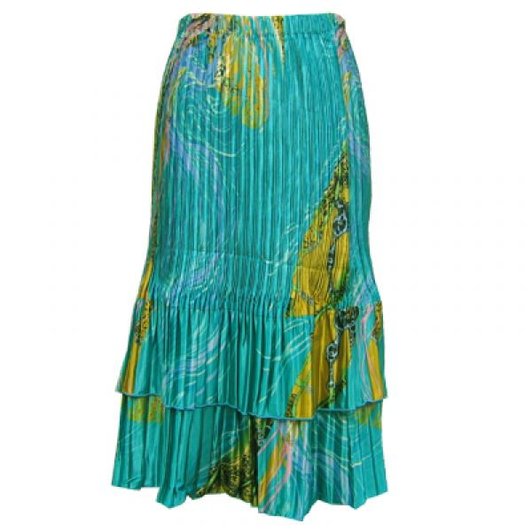 Wholesale Skirts - Satin Mini Pleat Tiered*  Swirl Aqua-Blue - One Size (S-XL)