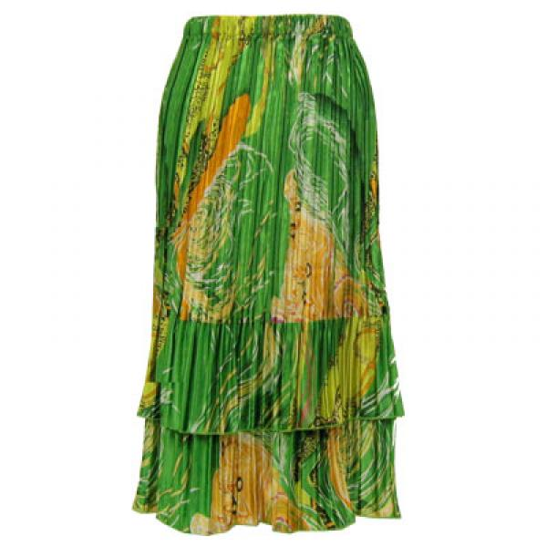 Wholesale Skirts - Satin Mini Pleat Tiered*  Swirl Green-Gold - One Size (S-XL)