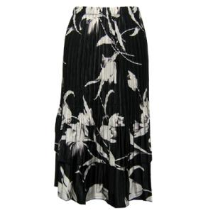 Wholesale Skirts - Satin Mini Pleat Tiered*  White Tulips on Black - One Size (S-XL)