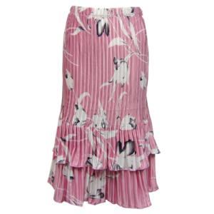 Wholesale Skirts - Satin Mini Pleat Tiered*  White Tulips on Pink - One Size (S-XL)