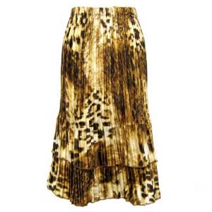 Wholesale Skirts - Satin Mini Pleat Tiered*  Giraffe Brown Satin Mini Pleat Tiered Skirt - One Size (S-XL)