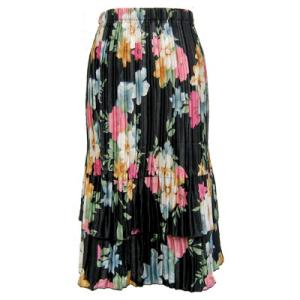 Wholesale Skirts - Satin Mini Pleat Tiered*  Black Floral Satin Mini Pleat Tiered Skirt - One Size (S-XL)