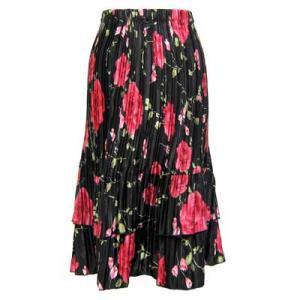 Wholesale Skirts - Satin Mini Pleat Tiered*  Black with Roses Satin Mini Pleat Tiered Skirt - One Size (S-XL)
