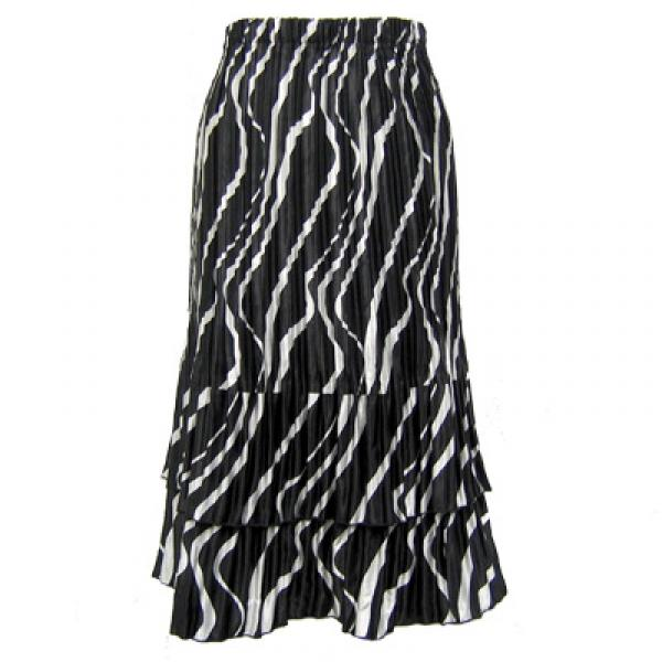 Wholesale Skirts - Satin Mini Pleat Tiered*  Ribbon Black-White - One Size (S-XL)
