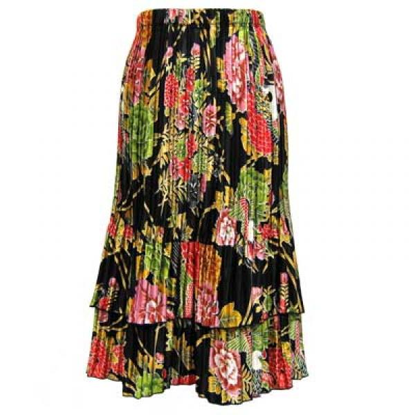 Wholesale Skirts - Satin Mini Pleat Tiered*  Floral Bouquet Satin Mini Pleat Tiered Skirt - One Size (S-XL)