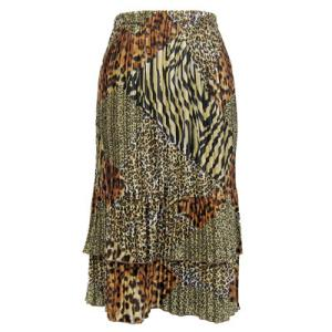 Wholesale Skirts - Satin Mini Pleat Tiered*  Patchwork Animal Satin Mini Pleat Tiered Skirt - One Size (S-XL)