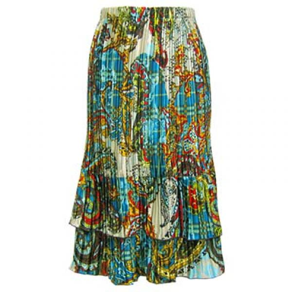 Wholesale Skirts - Satin Mini Pleat Tiered*  Paisley Plaid Teal Satin Mini Pleat Tiered Skirt - One Size (S-XL)