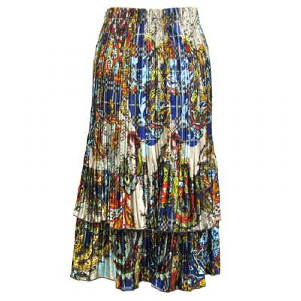 Wholesale Skirts - Satin Mini Pleat Tiered*  Paisley Plaid Royal Satin Mini Pleat Tiered Skirt - One Size (S-XL)