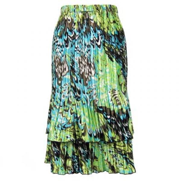 Wholesale Skirts - Satin Mini Pleat Tiered*  Lime-Aqua Peacock Satin Mini Pleat Tiered Skirt - One Size (S-XL)