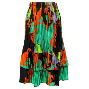 Wholesale Skirts - Satin Mini Pleat Tiered*  Cukoo Green Satin Mini Pleat Tiered Skirt - One Size (S-XL)