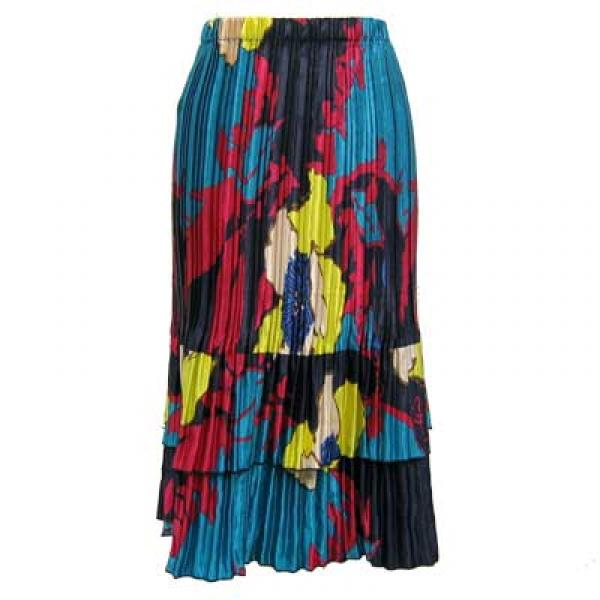 Wholesale Skirts - Satin Mini Pleat Tiered*  Cukoo Blue Satin Mini Pleat Tiered Skirt - One Size (S-XL)
