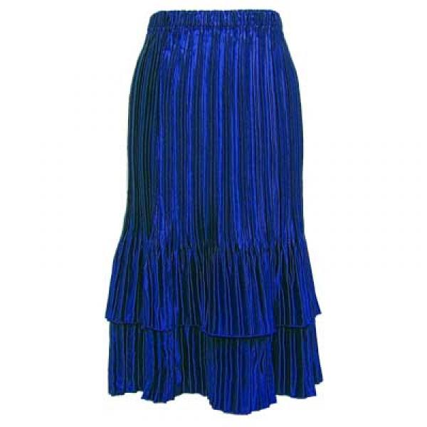 Wholesale Skirts - Satin Mini Pleat Tiered* Solid Royal - One Size (S-XL)