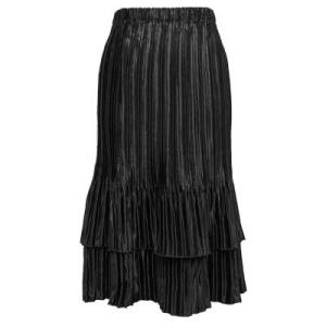 Wholesale Skirts - Satin Mini Pleat Tiered* Solid Black - One Size (S-XL)